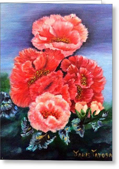 Pinks And Purple Petals Greeting Cards - Fantasy Flowers Greeting Card by Janis  Tafoya