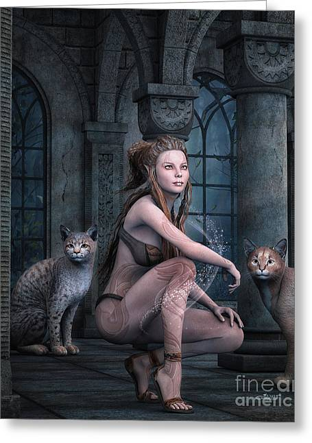 Bobcat Art Greeting Cards - Fantasy Full Moon Night Greeting Card by Jutta Maria Pusl