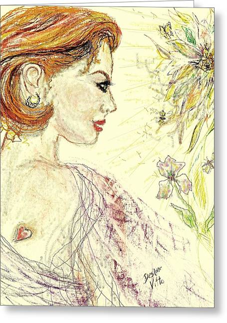Red Lips Pastels Greeting Cards - Fantasy Garden Greeting Card by Desline Vitto