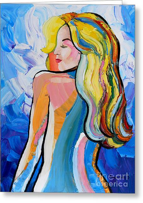 Multicolor Reliefs Greeting Cards - Fantasy Girl  Greeting Card by Denisa Laura Doltu