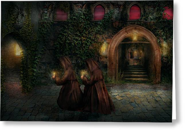 Candle Lit Greeting Cards - Fantasy - Into the night Greeting Card by Mike Savad