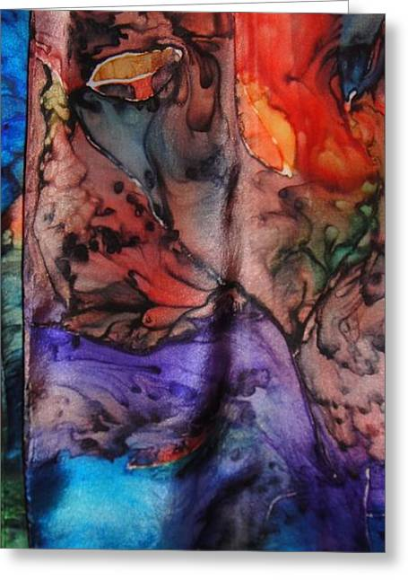Abstract Tapestries - Textiles Greeting Cards - Silk-12 Greeting Card by Julia Shapiro