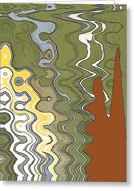 Green And Yellow Abstract Greeting Cards - Fantasy Landscape Greeting Card by Ben and Raisa Gertsberg