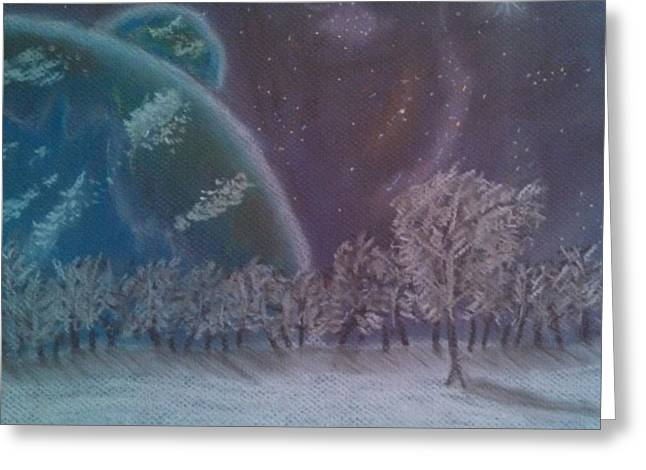 Science Fiction Pastels Greeting Cards - Fantasy Landscape Greeting Card by George Jewell