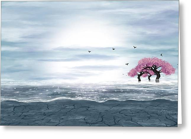 Mystical Landscape Greeting Cards - Fantasy landscape in blue and gray colors Greeting Card by Nika Lerman