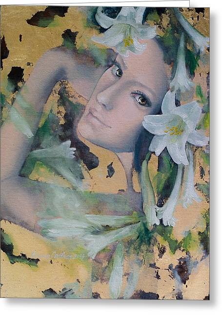 Live Art Greeting Cards - Fantasy Lilies Greeting Card by Dorina  Costras