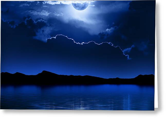 Landscape. Scenic Digital Art Greeting Cards - Fantasy Moon and Clouds over water Greeting Card by Johan Swanepoel