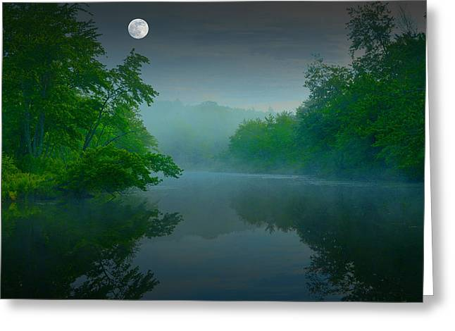 Fantasy Moon Over Misty Lake Greeting Card by Geoffrey Coelho