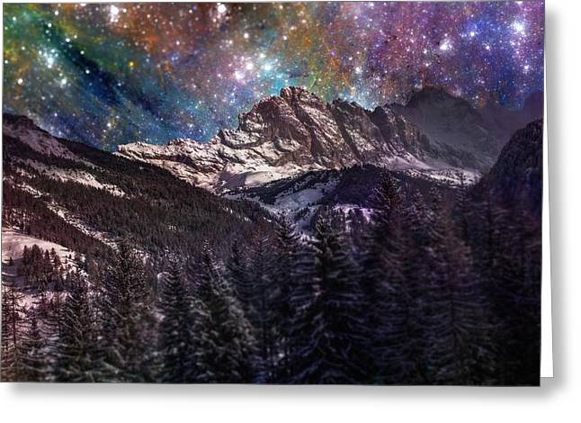 Outer Space Mixed Media Greeting Cards - Fantasy mountain landscape Greeting Card by Martin Capek