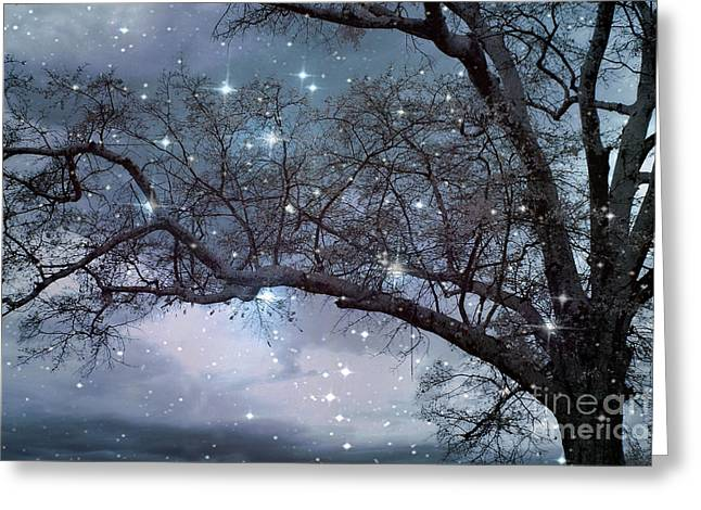 Surreal Dreamy Nature Photos Greeting Cards - Fantasy Nature Blue Starry Surreal Gothic Fantasy Blue Trees Nature Starry Night Greeting Card by Kathy Fornal