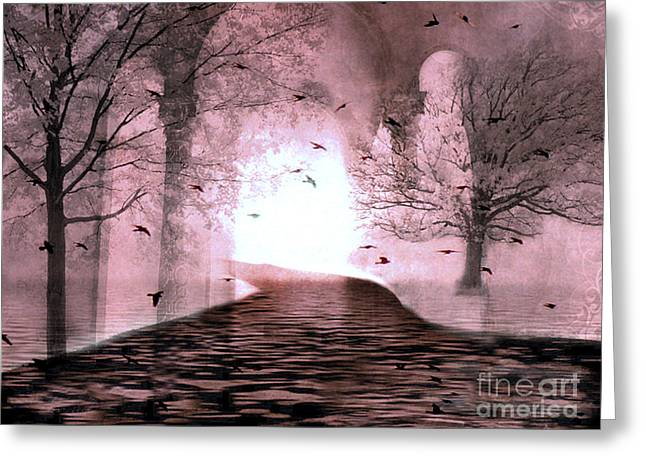 Fantasy Nature Trees - Haunting Surreal Path Trees And Birds Greeting Card by Kathy Fornal