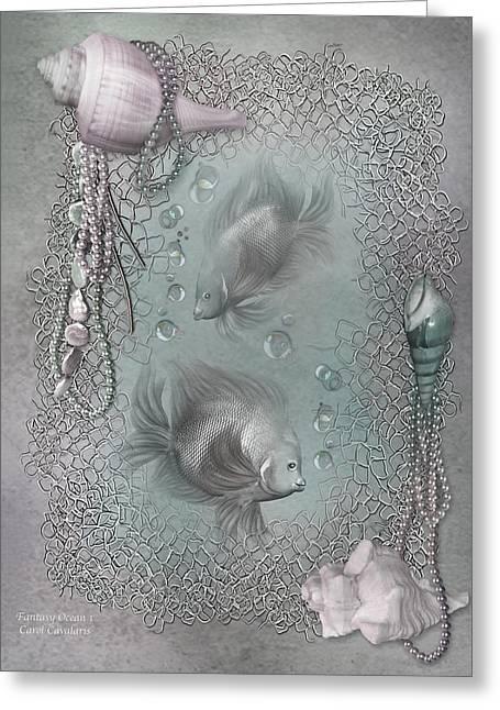 Bathroom Prints Mixed Media Greeting Cards - Fantasy Ocean 1 Greeting Card by Carol Cavalaris