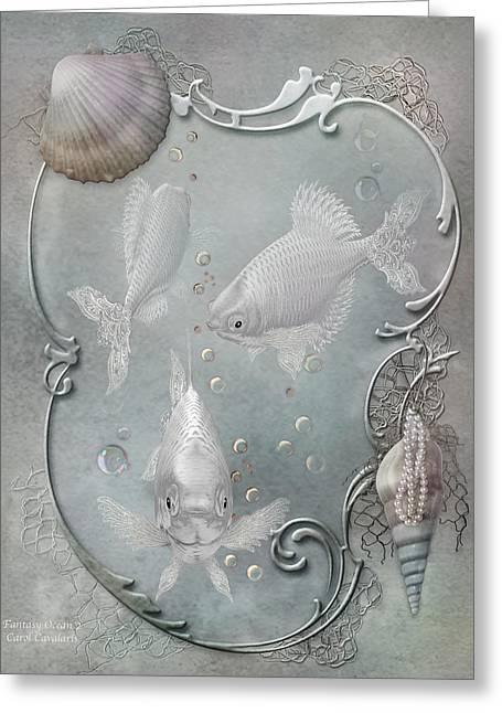 Bathroom Prints Mixed Media Greeting Cards - Fantasy Ocean 2 Greeting Card by Carol Cavalaris
