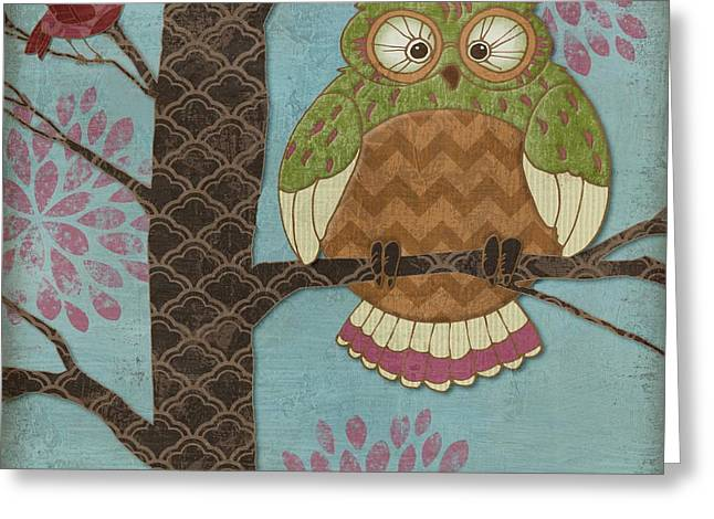 Chevron Owl Greeting Cards - Fantasy Owls I Greeting Card by Paul Brent