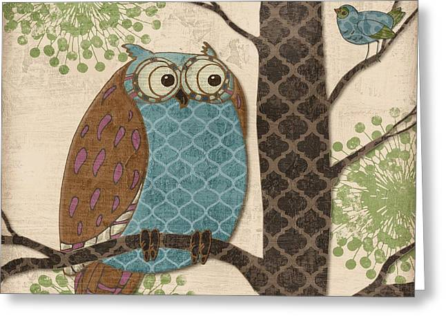 Purple Tree Greeting Cards - Fantasy Owls II Greeting Card by Paul Brent