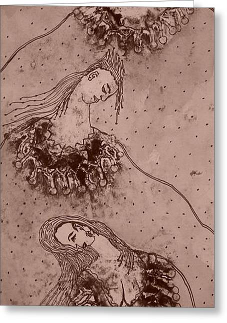 Printmaking Greeting Cards - Fantasy People sepia Greeting Card by Steven Clayton