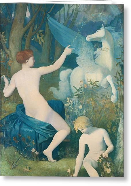 Pegasus Paintings Greeting Cards - Fantasy Greeting Card by Pierre de Chavannes