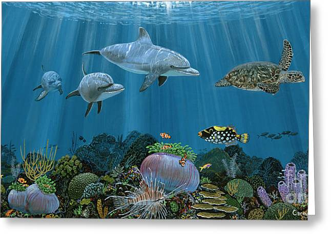 Green Turtle Greeting Cards - Fantasy Reef Re0020 Greeting Card by Carey Chen