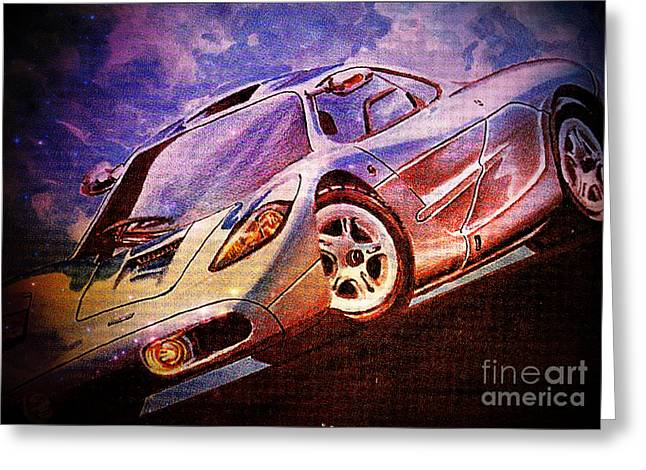 Collector Car Mixed Media Greeting Cards - Fantasy Ride Greeting Card by M and L Creations