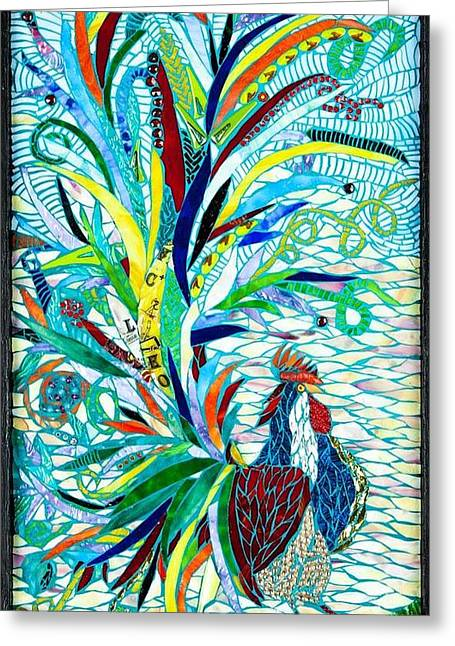Birds Glass Art Greeting Cards - Fantasy Rooster Greeting Card by Beverly Thomas Jenkins