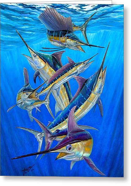 Black Marlin Paintings Greeting Cards - Fantasy Slam Greeting Card by Terry Fox