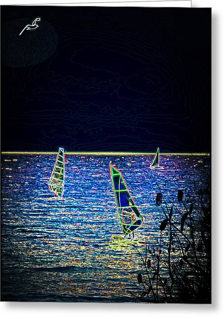 Wind Surfing Art Greeting Cards - Fantasy Greeting Card by Sotiris Filippou