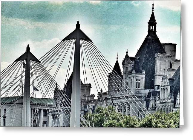 Famous Bridge Greeting Cards - Fantasy London . Old Spires New Greeting Card by Connie Handscomb