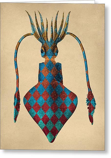 Fantasy Squid Vintage Illustration Greeting Card by Flo Karp