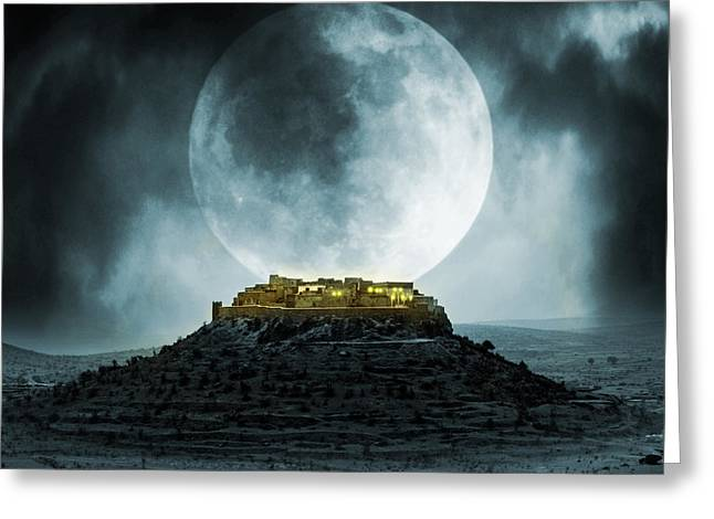Castle Horror Illustration Greeting Cards - Fantasy stronghold Greeting Card by Jaroslaw Grudzinski
