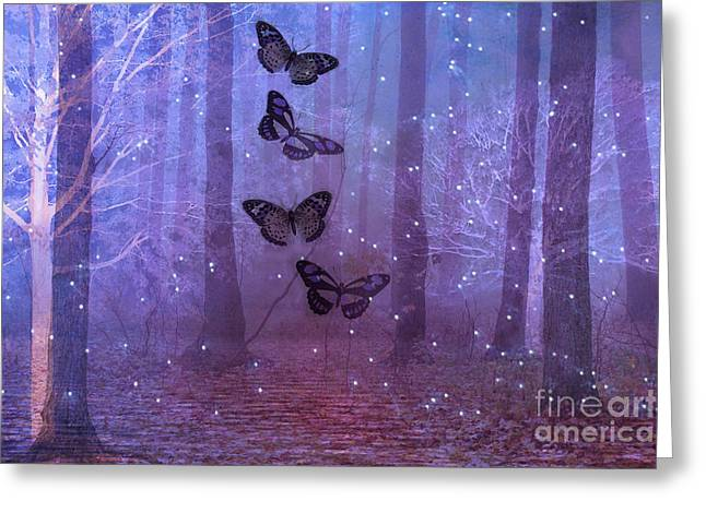 Fantasy Tree Art Greeting Cards - Fantasy Surreal Butterflies Purple Woodlands Fairy Lights - Sparkling Purple Butterfly Celestial Art Greeting Card by Kathy Fornal