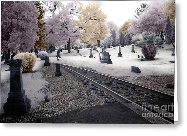 Dreamy Infrared Photo Art Greeting Cards - Fantasy Surreal Infrared Graveyard With Railroad Tracks - No Rest For The Dead Greeting Card by Kathy Fornal
