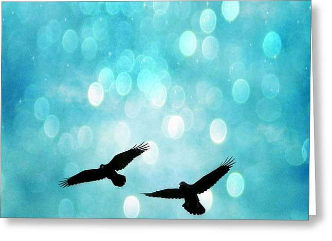 Fantasy Surreal Ravens Flying - Aquamarine Blue Bokeh Sparkling Lights Greeting Card by Kathy Fornal