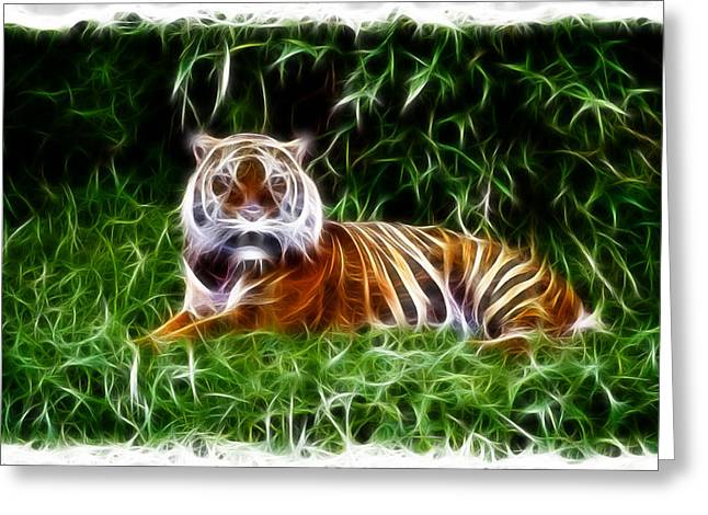 Growling Greeting Cards - Fantasy Tiger Greeting Card by Steve McKinzie