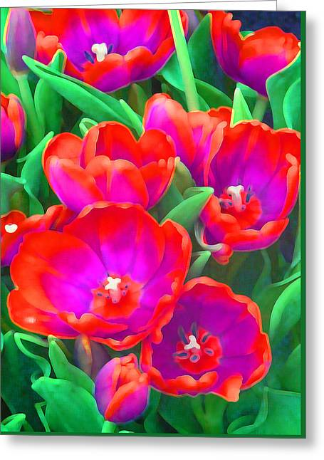 Coloured Greeting Cards - Fantasy Tulip Abstract Greeting Card by Margaret Saheed