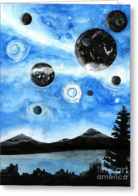 Blue Abstracts Greeting Cards - Fantasy Universe Greeting Card by Alison  Page