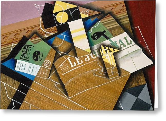 Journal Greeting Cards - Fantomas Greeting Card by Juan Gris