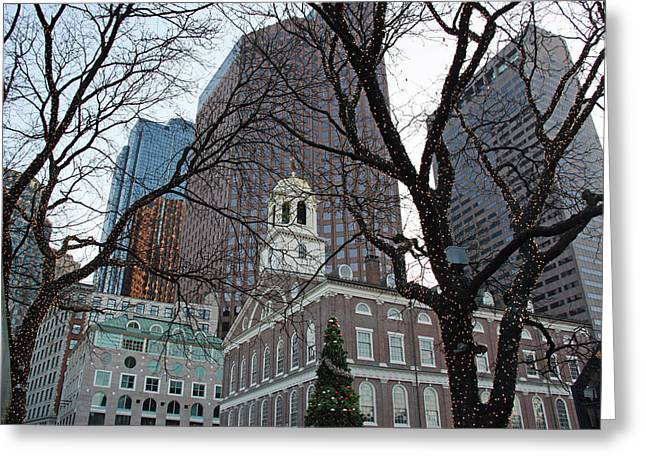 Architecture Framed Prints Greeting Cards - Fanueil Hall at Christmas Greeting Card by Kathy Yates