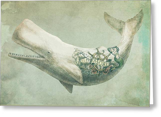 Whale Drawings Greeting Cards - Far and Wide Greeting Card by Eric Fan