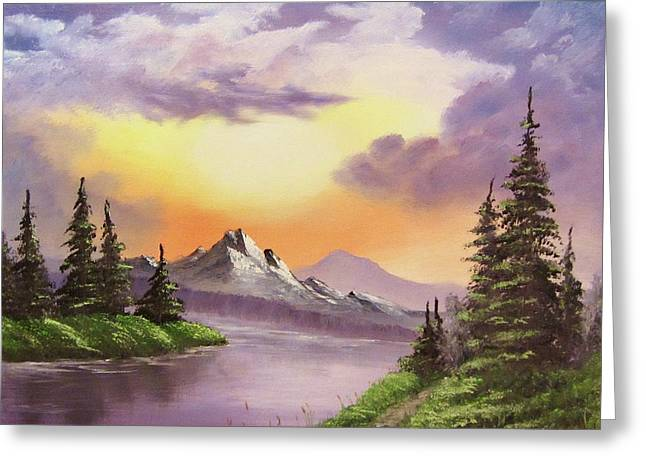 Bob Ross Paintings Greeting Cards - Sun and Shadow Greeting Card by Gavin Kutil