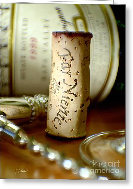 Wine Grapes Mixed Media Greeting Cards - Far Niente Uncorked Greeting Card by Jon Neidert