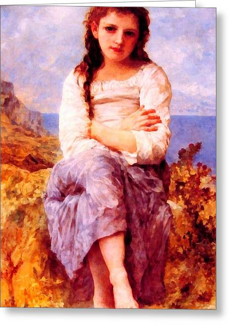 Blue Blouse Greeting Cards - Far Niente Greeting Card by William Bouguereau