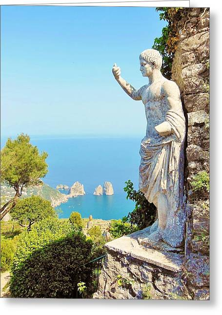 Roman Statue Greeting Cards - Faraglioni Rocks from Mt Solaro Capri Greeting Card by Marilyn Dunlap