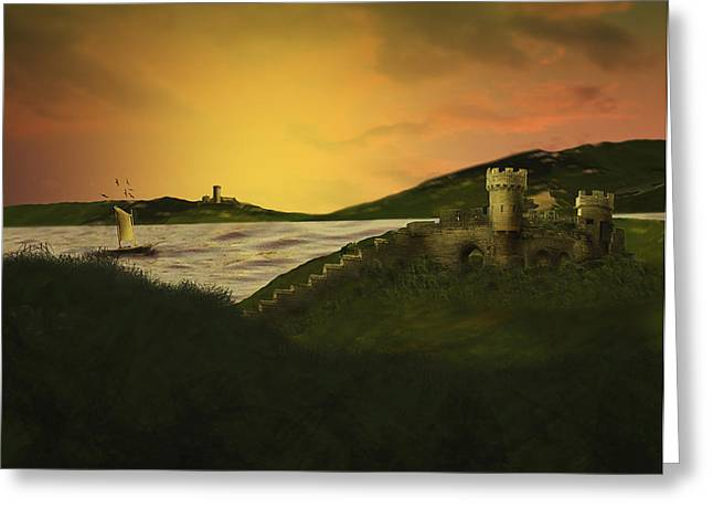 Castle. Birds Greeting Cards - Faraway Lands Greeting Card by Janelle Yeager