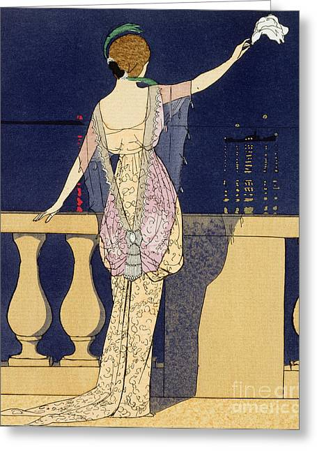 Back View Greeting Cards - Farewell at Night Greeting Card by Georges Barbier