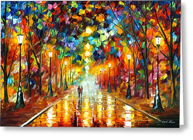 Park Lights Greeting Cards - Farewell To Anger Greeting Card by Leonid Afremov