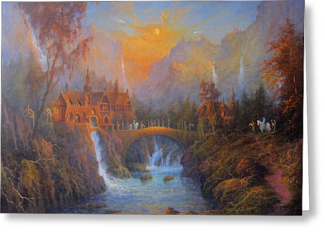 Hobbits Greeting Cards - Farewell To Rivendell The Passing Of The Elves Greeting Card by Joe  Gilronan