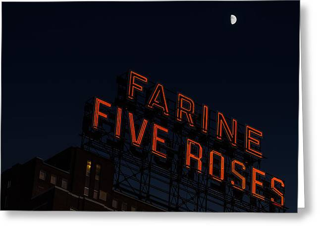 Montreal Icon Greeting Cards - Farine Five Roses under moonlight Greeting Card by Martin New