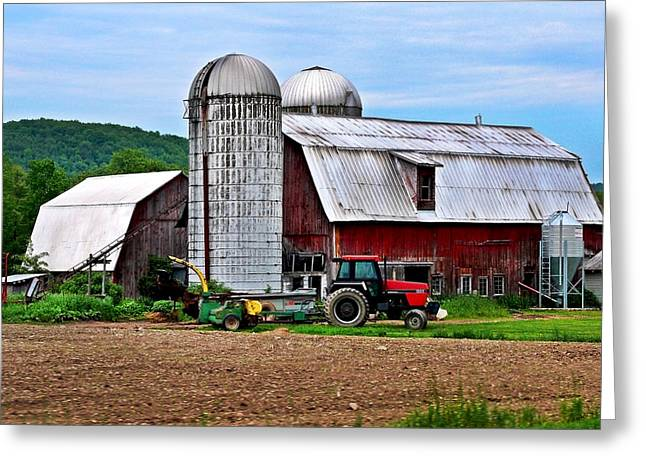 Christina Digital Art Greeting Cards - Farm And Tractor Greeting Card by Christina Rollo