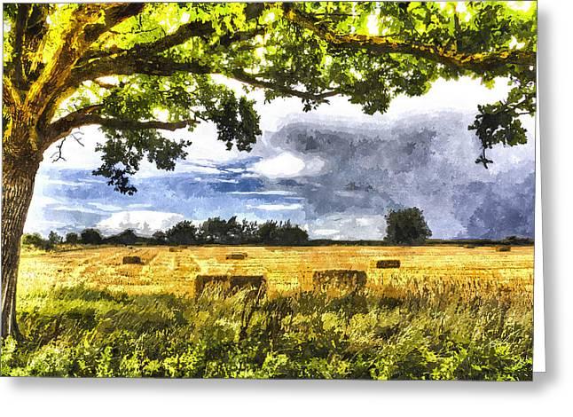 Farmers Field Digital Art Greeting Cards - Farm Art Greeting Card by David Pyatt