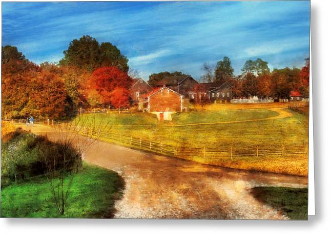 Farm - Barn -  A walk in the country Greeting Card by Mike Savad